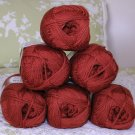 "$48 Lot--6 Skeins Moda Dea Washable Wool ""Rust"" Yarn + Free Gift!"