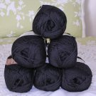 "$48 Lot--6 Skeins Moda Dea Washable Wool ""Black"" Yarn + Free Gift!"