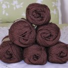 "$48 Lot--6 Skeins Moda Dea Bamboo Wool ""Coffee"" Yarn + Free Gift!"