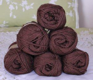 "$48 Lot--6 Skeins Moda Dea Bamboo Wool ""Coffee"" Yarn + Free Gift!"