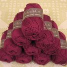 "$55 Lot--10 Skeins Nashua Creative Focus Cotton ""Dark Fuchsia"" Yarn + Free Gift!"