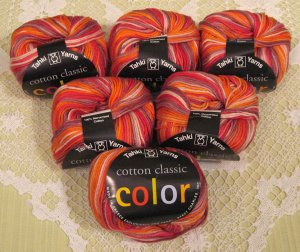 "6 Skeins Tahki Cotton Classic ""114 Red/Brown"" Yarn + Free Gift!"