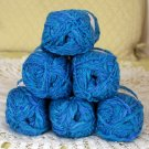 "$42 Lot--6 Skeins Moda Dea Cartwheel ""Sea Blues"" Yarn + Free Gift!"