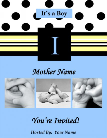 Blue Polka Dot Invite