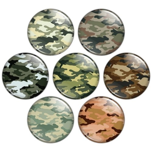 Camouflage Pattern 1.25 inch Pinback Button Badge Set