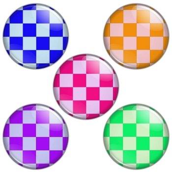 Check Pattern 1.25 inch Pinback Button Badge Set 1