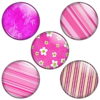 Pink Color Themed 1.25 inch Pinback Button Badge Set