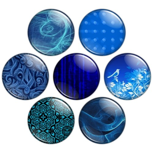 Blue Color Themed 1.25 inch Pinback Button Badge Set 3