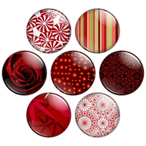 Red Color Themed 1.25 inch Pinback Button Badge Set