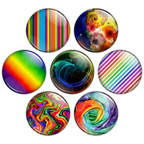 Rainbow Color Themed 1.25 inch Pinback Button Badge Set