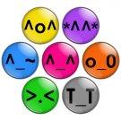 Kawaii Emoticon 1.25 inch Pinback Button Badge Set