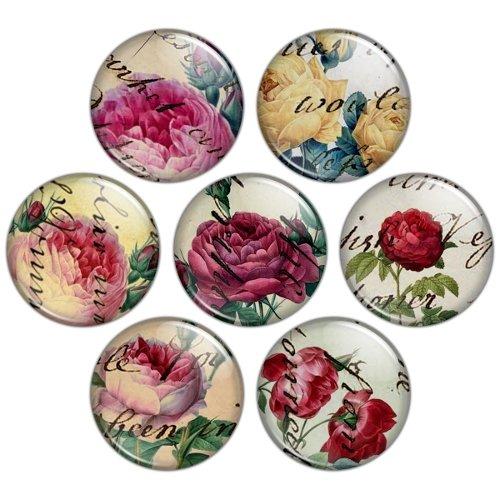 Victorian Rose 1.25 inch Pinback Button Badge Set
