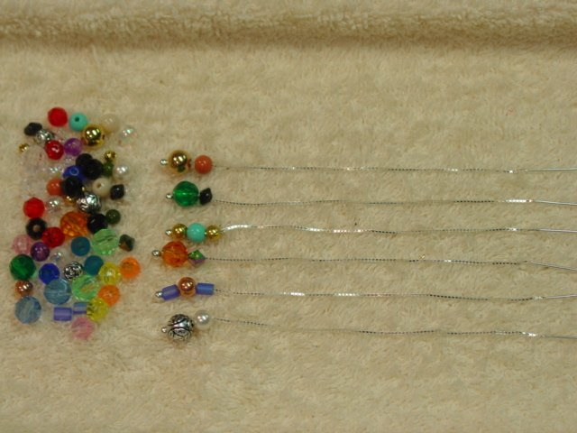"3"" Sterling Thread Threader Earrings & 72 Beads #24b"