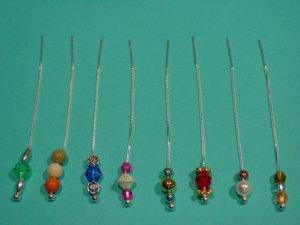 "3"" 14kt Vermeil Thread Threader Earrings & 84 Beads #50"