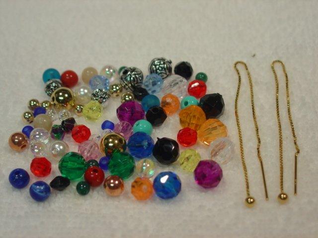 "5"" 14kt Vermeil Thread Threader Earrings & 72 Beads#24"