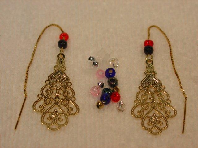 14kt Vermeil Filligree Thread Threader Earrings #p115