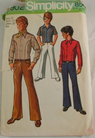 "Vintage ""Shirt, Bellbottom"" Simplicity8902 PATTERN Sz 12"