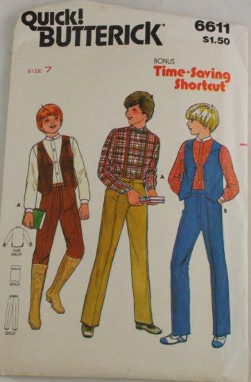 """Boy's """"Vest,Pant,Shirt"""" Butterick 6611 Sz 7"""