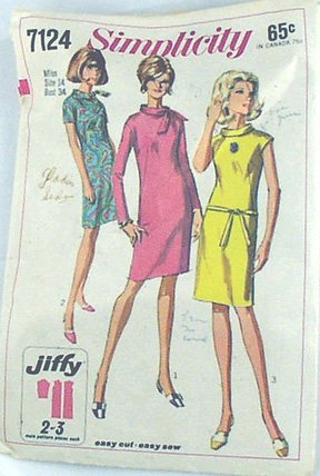 VINTAGE PATTERN Mod Wiggle Dress, Cowl Collar 67 Sz14