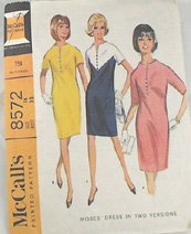 Mod Dress Pattern-McCalls 8572-MOD Sz18