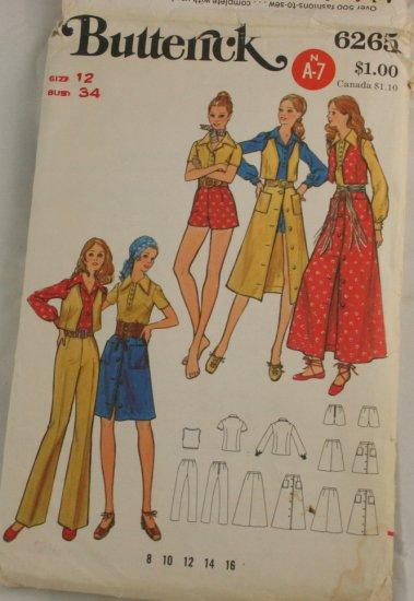 """Vintage """"Hot Pants & Skirt"""" Pattern Butterick 6263 PATTERN Sz 12"""