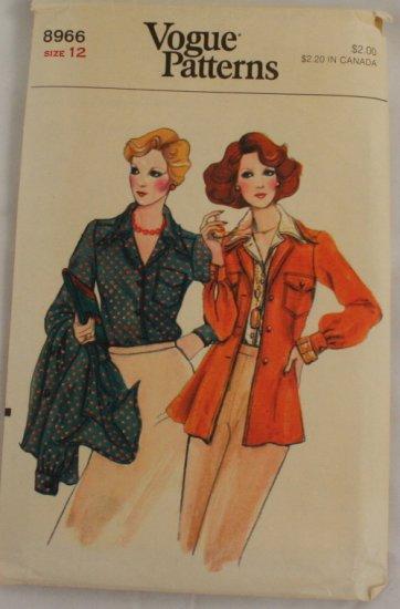 "Vogue 8966 Vintage 70s ""Shirt Jacket & Shirt""  PATTERN Sz 12"