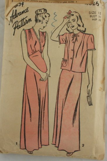 Nightgown Bed Jacket-VINTAGE PATTERN SZ 12