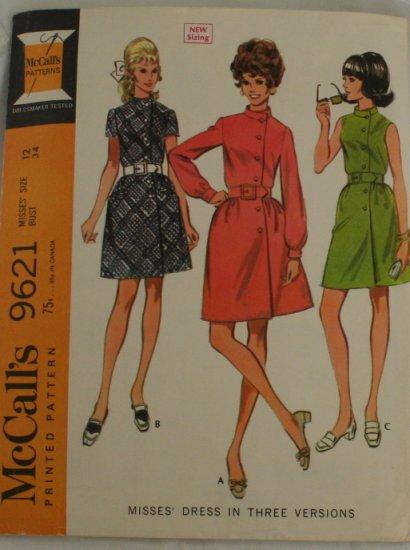 "Vintage 69 ""Button Up Dress"" McCalls 9621 PATTERN Sz 12"