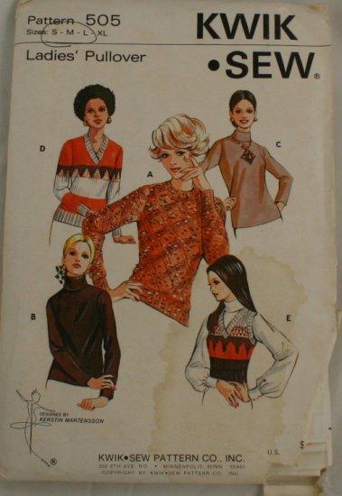 "Vintage 70s ""Ladies Pullover"" Kwik Sew PATTERN Sz S-L"