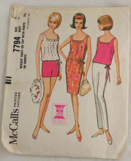 "Vintage ""Shift or Top/Pant"" Pattern McCalls 7794 PATTERN Sz 16"
