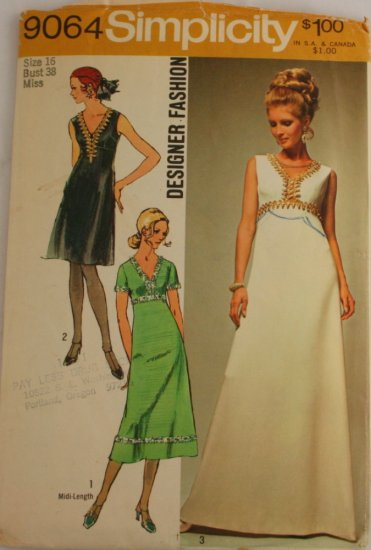 "Vintage""Designer Dress"" Pattern Simplicity 9064  Sz 16"