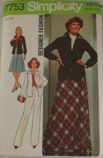 1976-Designer Outfit-Simplicity 7753-VINTAGE PATTERN SZ 14