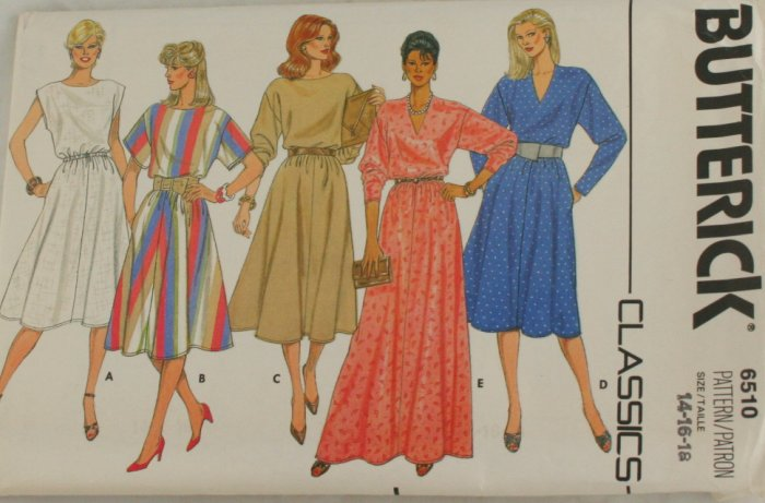 80-90s-Pullover Dress-Butterick 6510-VINTAGE PATTERN SZ14-18
