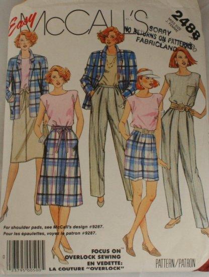1986-Jacket/Top/Shorts-McCall's 2488-VINTAGE PATTERN SZ 20