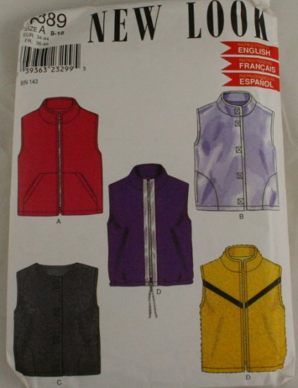 80-90s-Vest Jacket-New Look- VINTAGE PATTERN SZ 8-18