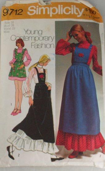 Dress,Bib Jumper-Simplicity 9712-VINTAGE PATTERN Sz 16