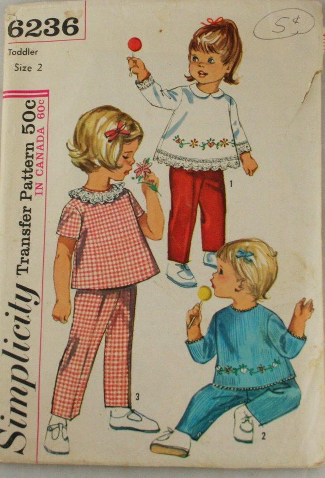 1965 Toddler Top, Pant-Simplicity 6236 sz 2