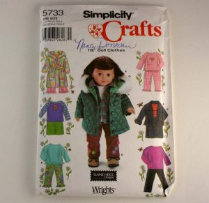 """Doll Clothes for 18""""(45.5cm) Doll Simplicity 5733 VINTAGE PATTERN SZ one"""