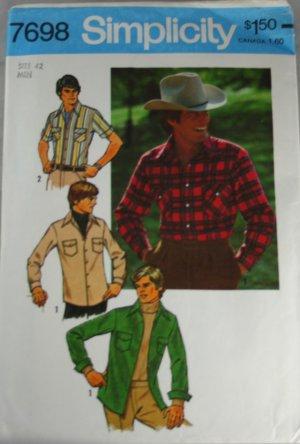 Mens Western Shirt Simplicity 7698-VINTAGE PATTERN SZ 42
