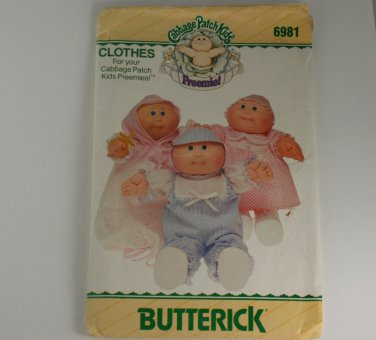 Butterick 6981 Clothes for Your Cabbage Patch Preemies VINTAGE PATTERN SZ one