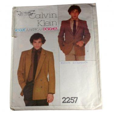 Vogue American Designer 2257 Calvin Klein Mens Jacket Pattern Sz 42