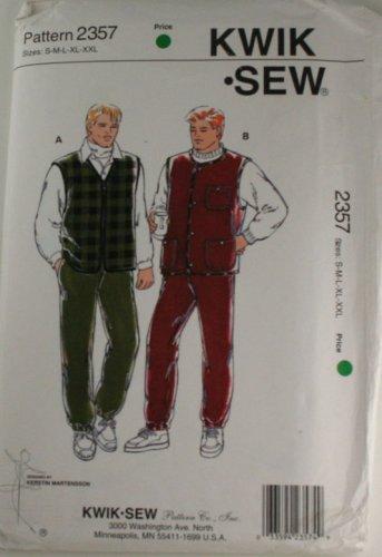 Kwik Sew 2357 Sewing Pattern Mens Pants and Vests  Sz S,M,L,XL,XXL