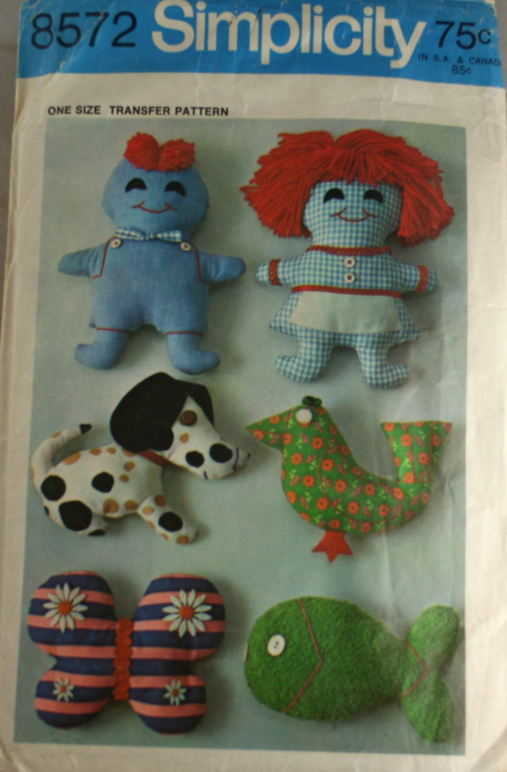 Flat Dolls Mini Menagerie  Simplicity 8572-1969 SZ one