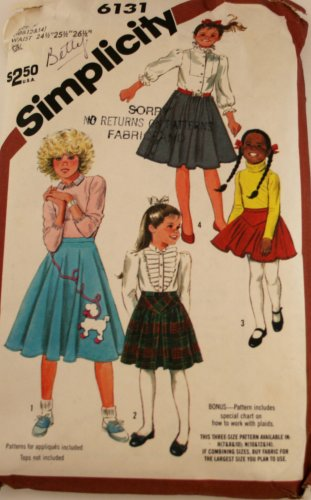 Girls Poodle Skirts in Three Lengths Simplicity 6131-1983 SZ 10,12,14