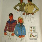 Misses Western Shirt with Transfer 1975 Simplicity 7051  SZ 6,8