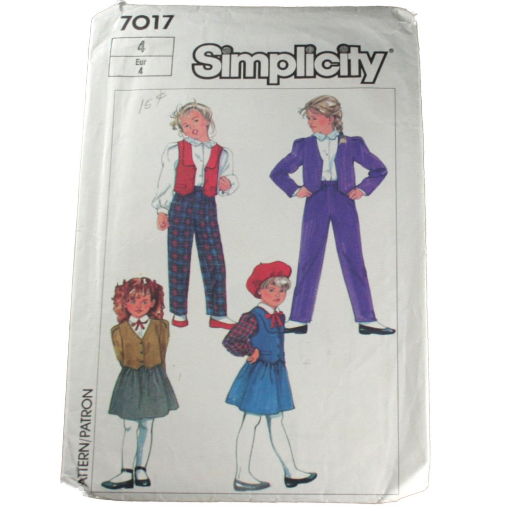 Child Pull-On Pants,Skirt,Lined Jacket,Vest-Simplicity 7017 SZ 4