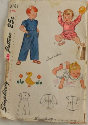 Toddler Coverall & Romper w/ Transfer Simplicity 3181 1950s Size 6M