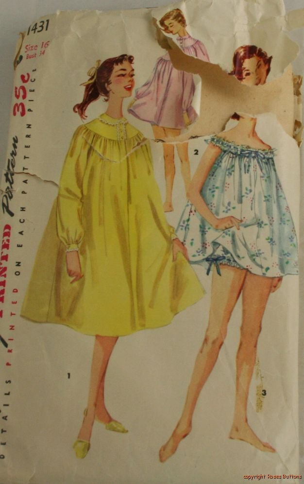 Teen Baby Doll Nightgown Simplicity 1451 Size 16