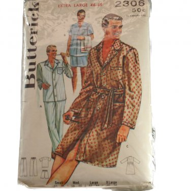 Butterick 2306 Mens Pajamas and Sleep Coat SZ Extra Large 46-48