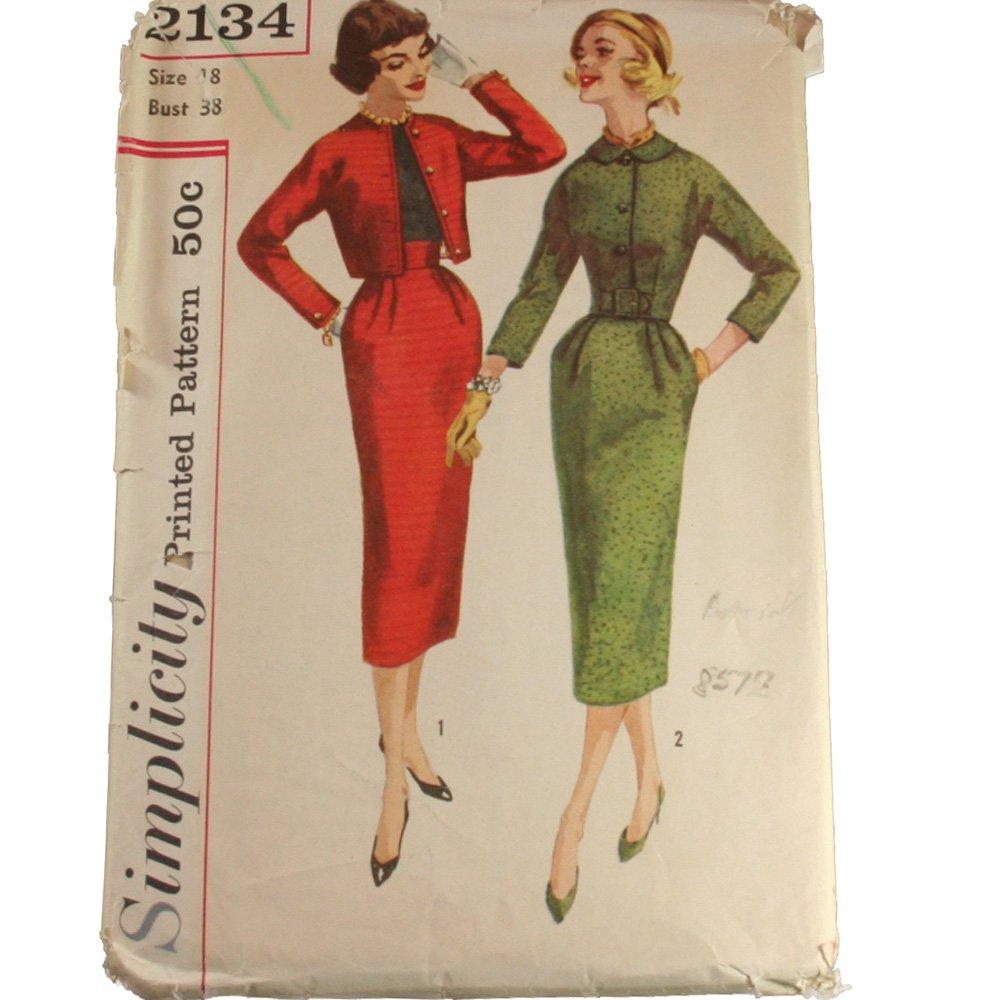 Simplicity 2134  Misses Wiggle Suit Sz 18, Bust 38